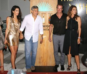 Mandatory Credit: Photo by Dani Gorino/REX Shutterstock (2806007s) Amal Clooney, George Clooney, Cindy Crawford and Rande Gerber George Clooney Party, UshuaÔa Ibiza Beach hotel, Ibiza, Spain - 23 Aug 2015