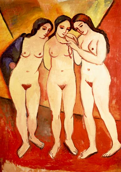 three naked girls (red and orange)