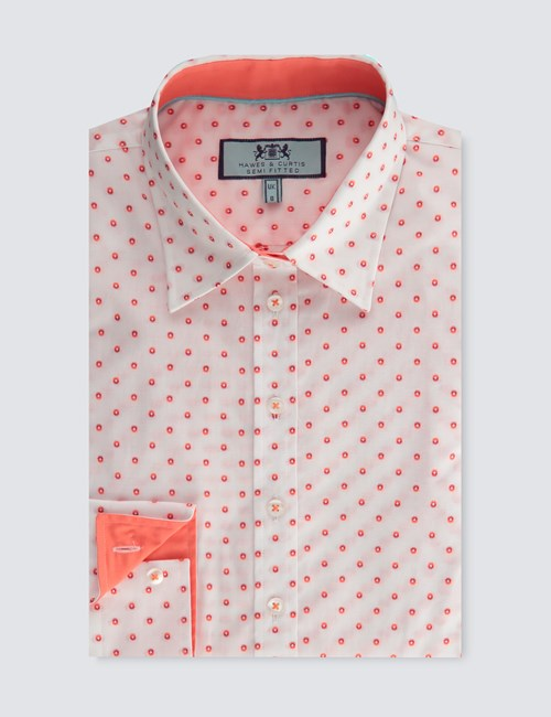 womens-white-and-orange-dobby-spot-semi-fitted-shirt-single-cuff-SMBFV005-N16-130235-500px-650px